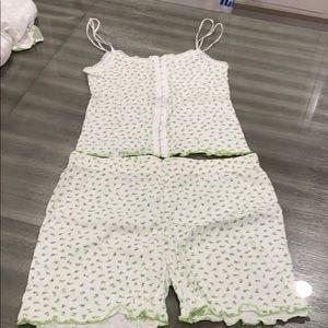 Green and white sleepwear